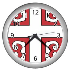 Serbian Cross Shield Wall Clocks (silver)  by abbeyz71
