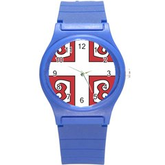 Serbian Cross Shield Round Plastic Sport Watch (s) by abbeyz71