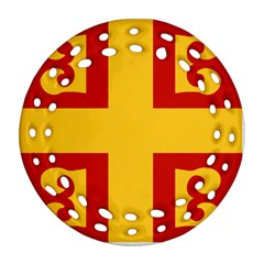 Byzantine Imperial Flag, 14th Century Ornament (round Filigree) by abbeyz71