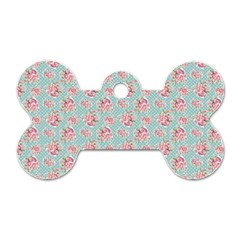 Floral Pattern Dog Tag Bone (two Sides)