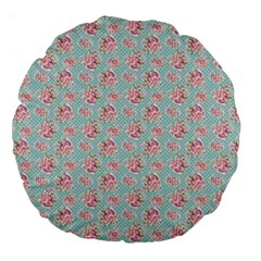 Floral Pattern Large 18  Premium Round Cushions