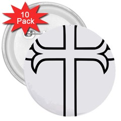 Western Syriac Cross 3  Buttons (10 Pack)