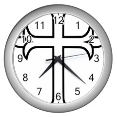 Western Syriac Cross Wall Clocks (silver)