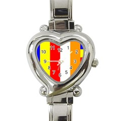 International Flag Of Buddhism Heart Italian Charm Watch by abbeyz71