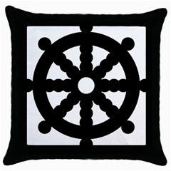 Dharmacakra Throw Pillow Case (black) by abbeyz71