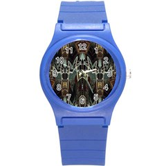 Urban Industrial Rust Grunge Round Plastic Sport Watch (s) by CrypticFragmentsDesign