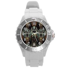 Urban Industrial Rust Grunge Round Plastic Sport Watch (l) by CrypticFragmentsDesign