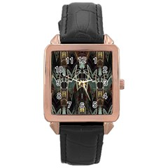 Urban Industrial Rust Grunge Rose Gold Leather Watch  by CrypticFragmentsDesign