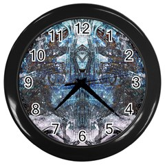 Angel Wings Blue Grunge Texture Wall Clocks (black) by CrypticFragmentsDesign