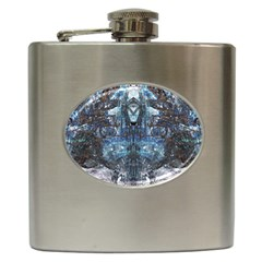Angel Wings Blue Grunge Texture Hip Flask (6 Oz) by CrypticFragmentsDesign
