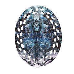 Angel Wings Blue Grunge Texture Oval Filigree Ornament (two Sides) by CrypticFragmentsDesign