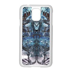 Angel Wings Blue Grunge Texture Samsung Galaxy S5 Case (white) by CrypticFragmentsDesign