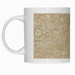Old Floral Crochet Lace Pattern Beige Bleached White Mugs by EDDArt