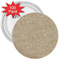 Old Floral Crochet Lace Pattern Beige Bleached 3  Buttons (100 Pack)  by EDDArt