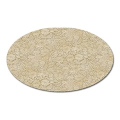 Old Floral Crochet Lace Pattern Beige Bleached Oval Magnet by EDDArt