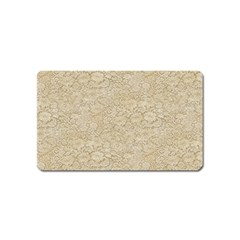 Old Floral Crochet Lace Pattern Beige Bleached Magnet (name Card) by EDDArt