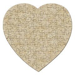 Old Floral Crochet Lace Pattern Beige Bleached Jigsaw Puzzle (heart) by EDDArt