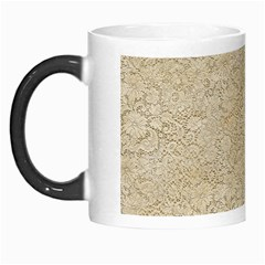 Old Floral Crochet Lace Pattern Beige Bleached Morph Mugs by EDDArt