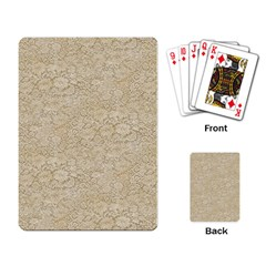 Old Floral Crochet Lace Pattern Beige Bleached Playing Card by EDDArt