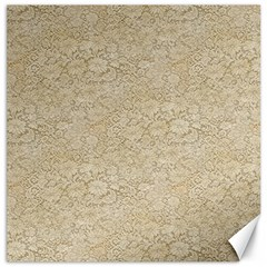Old Floral Crochet Lace Pattern Beige Bleached Canvas 12  X 12   by EDDArt