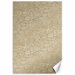 Old Floral Crochet Lace Pattern Beige Bleached Canvas 20  X 30   by EDDArt