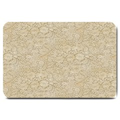 Old Floral Crochet Lace Pattern Beige Bleached Large Doormat  by EDDArt