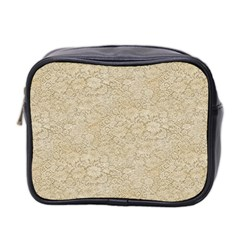 Old Floral Crochet Lace Pattern Beige Bleached Mini Toiletries Bag 2 Side by EDDArt