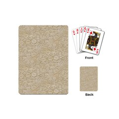 Old Floral Crochet Lace Pattern Beige Bleached Playing Cards (mini)