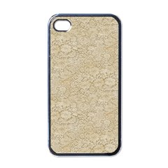 Old Floral Crochet Lace Pattern Beige Bleached Apple Iphone 4 Case (black)