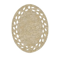 Old Floral Crochet Lace Pattern Beige Bleached Oval Filigree Ornament (two Sides) by EDDArt
