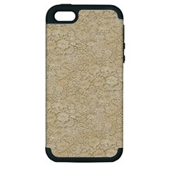 Old Floral Crochet Lace Pattern Beige Bleached Apple Iphone 5 Hardshell Case (pc+silicone) by EDDArt