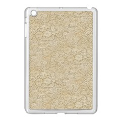 Old Floral Crochet Lace Pattern Beige Bleached Apple Ipad Mini Case (white) by EDDArt