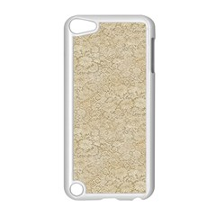Old Floral Crochet Lace Pattern Beige Bleached Apple Ipod Touch 5 Case (white) by EDDArt