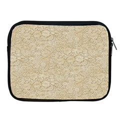 Old Floral Crochet Lace Pattern Beige Bleached Apple Ipad 2/3/4 Zipper Cases
