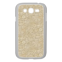 Old Floral Crochet Lace Pattern Beige Bleached Samsung Galaxy Grand Duos I9082 Case (white) by EDDArt