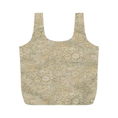 Old Floral Crochet Lace Pattern Beige Bleached Full Print Recycle Bags (m)  by EDDArt