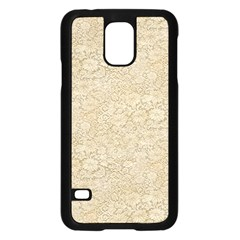 Old Floral Crochet Lace Pattern Beige Bleached Samsung Galaxy S5 Case (black) by EDDArt