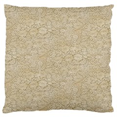 Old Floral Crochet Lace Pattern Beige Bleached Large Flano Cushion Case (two Sides) by EDDArt