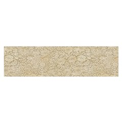 Old Floral Crochet Lace Pattern Beige Bleached Satin Scarf (oblong) by EDDArt