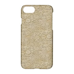Old Floral Crochet Lace Pattern Beige Bleached Apple Iphone 7 Hardshell Case by EDDArt