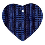 Wrinkly Batik Pattern   Blue Black Heart Ornament (Two Sides) Front