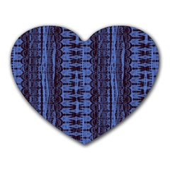 Wrinkly Batik Pattern   Blue Black Heart Mousepads