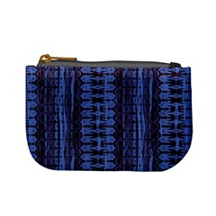 Wrinkly Batik Pattern   Blue Black Mini Coin Purses by EDDArt