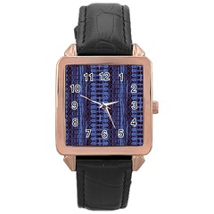 Wrinkly Batik Pattern   Blue Black Rose Gold Leather Watch  by EDDArt