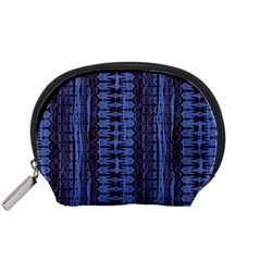 Wrinkly Batik Pattern   Blue Black Accessory Pouches (small)  by EDDArt