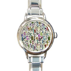 Colorful Retro Style Letters Numbers Stars Round Italian Charm Watch by EDDArt