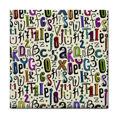 Colorful Retro Style Letters Numbers Stars Tile Coasters by EDDArt