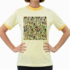 Colorful Retro Style Letters Numbers Stars Women s Fitted Ringer T Shirts by EDDArt
