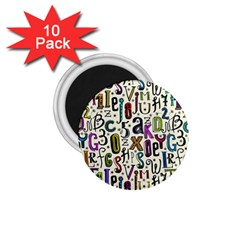 Colorful Retro Style Letters Numbers Stars 1 75  Magnets (10 Pack)  by EDDArt