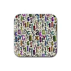 Colorful Retro Style Letters Numbers Stars Rubber Coaster (square)  by EDDArt